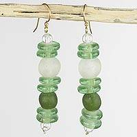Recycled glass dangle earrings Dziedzorm (Ghana)