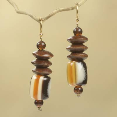 Wood beaded earrings, 'Edinam' - Wood Beaded Dangle Earrings Artisan Crafted Jewelry