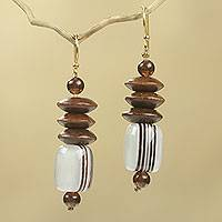 Wood beaded earrings, 'Elikplim' - African Fair Trade Jewelry Recycled Beads and Wood Earrings