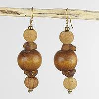 Wood beaded earrings, 'Dzidudu' - Wood Beaded Dangle Earrings Artisan Crafted Jewelry