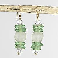 Recycled glass dangle earrings, 'Shine' - Handcrafted Eco Friendly African Dangle Earrings