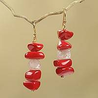 Agate dangle earrings, 'Red Velvet' - Red Agate Handcrafted African Dangle Earrings