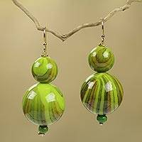 Beaded earrings, 'Dzidzo in Lime Green' - Fair Trade Beaded African Earrings Crafted by Hand