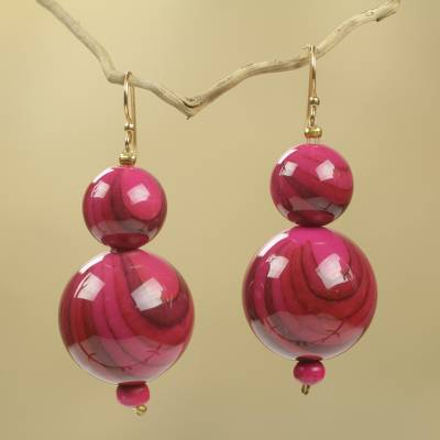 Beaded earrings, 'Dzidzo in Pink' - Pink Beaded Earrings Hand Crafted with Recycled Beads