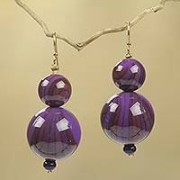 Beaded earrings, 'Dzidzo in Purple' - Purple African Earrings Hand Crafted with Recycled Beads