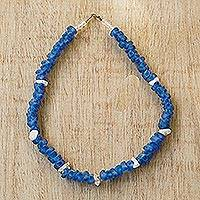 Recycled glass and agate beaded necklace, 'Forever True' - Handmade Stretch Necklace of Recycled Glass and Agate