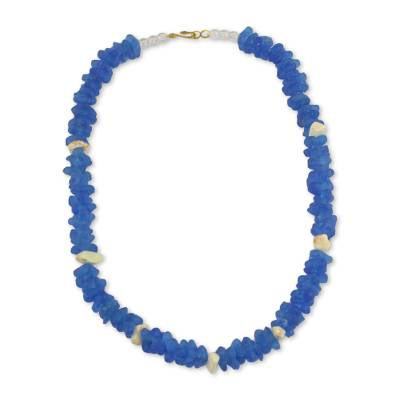 Handmade Stretch Necklace of Recycled Glass and Agate