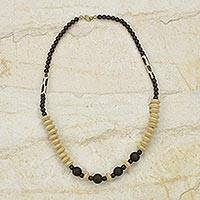 Wood and bone beaded necklace, 'Muse' - Artisan Crafted Wood and Batik Bone Necklace