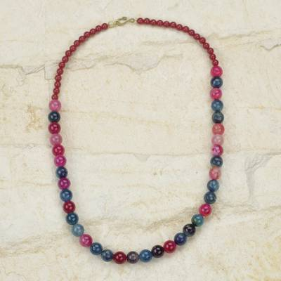 Beaded necklace, 'Mawuyno' - Artisan Crafted Beaded Necklace in Pink and Blue