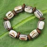 Wood beaded bracelet, 'Elikplim' - African Fair Trade Jewelry Recycled and Wood Bracelet