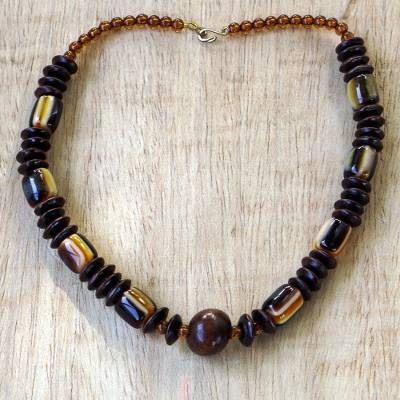 Wood beaded necklace, 'Edinam' - Wood Beaded Dangle Necklace Artisan Crafted Jewelry