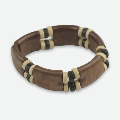 Eco Friendly Wood and Recycled Bead Bracelet from Ghana