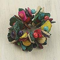 Wood stretch bracelet, 'Festival' - Handmade Wide Beaded Colorful Wood Stretch Bracelet
