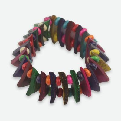 Handmade Wood and Coconut Shell Stretch Bracelet from Ghana