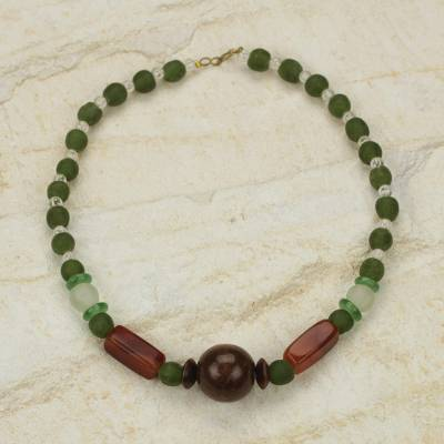 Agate and wood beaded necklace, 'With Gladness' - Eco Friendly Handcrafted Recycled Bead Necklace with Agate