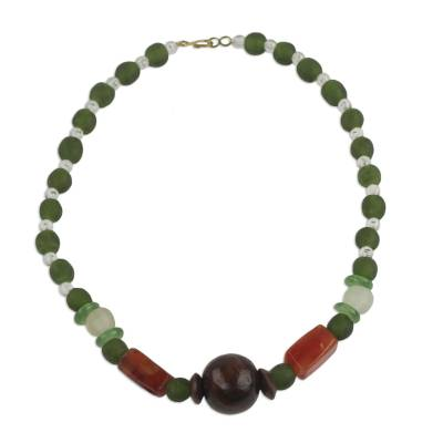 Eco Friendly Handcrafted Recycled Bead Necklace with Agate