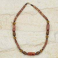 Agate and bauxite recycled beaded necklace,