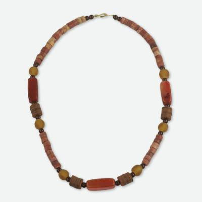 Agate and Bauxite Beaded Necklace with Recycled Materials