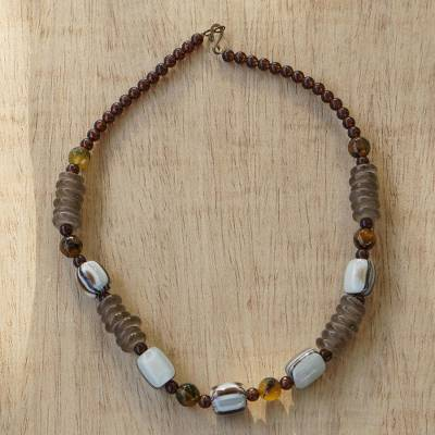 Beaded earrings, 'Xose in Beige' - African Necklace Crafted by Hand with Recycled Beads