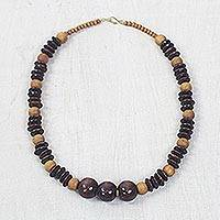 Wood beaded necklace, 'Dzidudu in Dark Brown' - Wood Beaded Dangle Necklace Artisan Crafted Jewelry