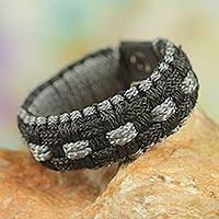 Men's wristband bracelet, 'Mankessim in Shadows' - Artisan Crafted Cord Wristband Bracelet in Black and Grey