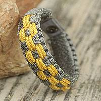 Men's wristband bracelet, 'Silver and Gold' - Woven Wristband Bracelet for Men in Gray and Gold