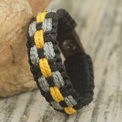 Men's wristband bracelet, 'Black Beauty' - Hand Made Cord Bracelet for Men in Black, Gray and Yellow
