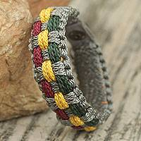 Men's wristband bracelet, 'Autumn Fields' - Gray, Green, Wine and Gold Woven Cord Bracelet for Men