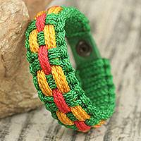 Men's wristband bracelet, 'Harvest Time' - Bright Color Men's Woven Bracelet Hand Crafted in Ghana