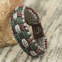 Men's wristband bracelet, 'Gentle Giant' - Gray, Green and Brown Hand Woven Cord Bracelet for Men