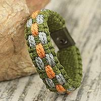Men's wristband bracelet, 'King's Banquet' - African Cord Bracelet for Men 'King's Banquet' NOVICA Ghana