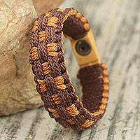 Men's wristband bracelet, 'Elegant' - Fair Trade Men's Bracelet Handwoven from Cords
