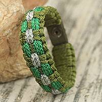 Men's wristband bracelet, 'Legendary' - Men's Green and Gray Polyester Cord Bracelet from Ghana