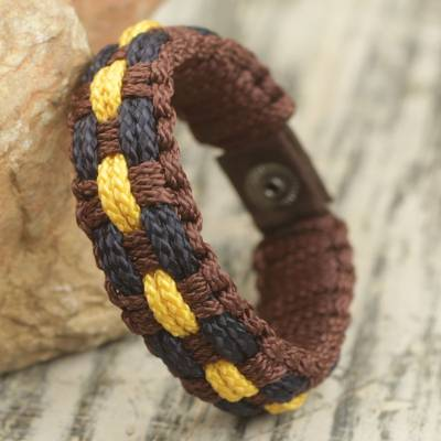 Men's wristband bracelet, 'Restoration' - Hand Made Men's Cord Bracelet in Brown, Navy and Yellow