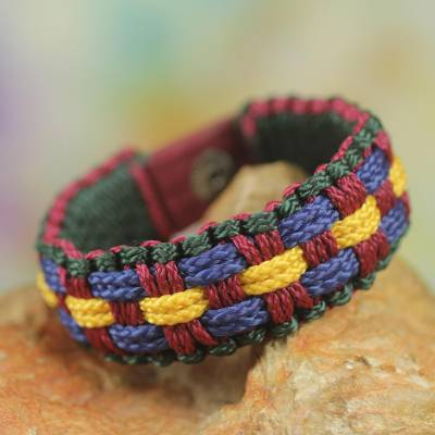 Men's wristband bracelet, 'Man of Integrity' - Artisan Crafted Colorful Cord Wristband Bracelet for Men