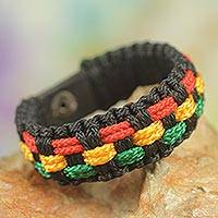 Men's wristband bracelet, 'Black Forest Paths' - Black Cord Handrafted Men's Colorful Wristband Bracelet