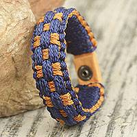 Men's wristband bracelet, 'True Friendship' - Blue and Orange Hand Woven Cord Bracelet for Men