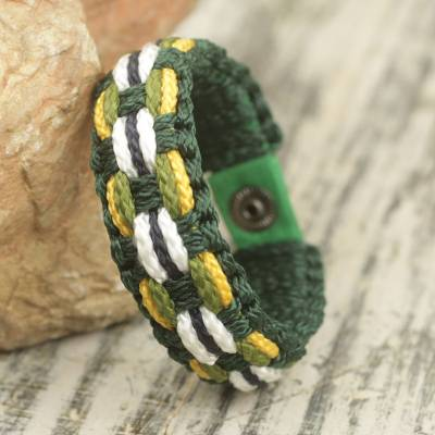 Men's wristband bracelet, 'Daydreamer' - Hand Made Cord Bracelet for Men in Green and Yellow