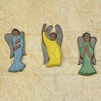 Wood ornaments, 'Angelic Prayers' (set of 3) - Hand Carved Wood Ornaments with Box (Set of 3)