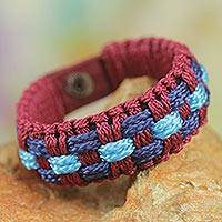 Men's wristband bracelet, 'Mankessim Celebration' - Men's Wristband Bracelet in Wine and Blue