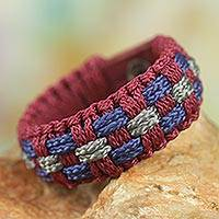 Men's wristband bracelet, 'Without Blame' - Wristband Bracelet Handcrafted of Colorful Cords