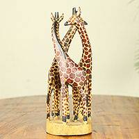 Teakwood sculpture, 'Giraffe Family'