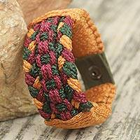 Men's wristband bracelet, 'Jubilation' - Multi Colored Hand Woven Cord Bracelet for Men