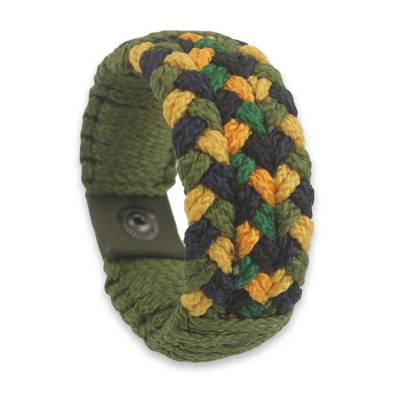 Green and Gold Woven Bracelet Hand Made for Men