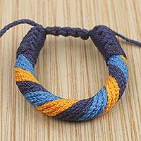 Men's wristband bracelet, 'Krobo Forever' - Hand Crafted Men's Yellow and Blue Cord Bracelet