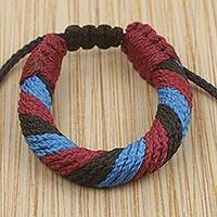 Men's wristband bracelet, 'Krobo Mountaintop' - Men's Multicolored Cord Wristband Bracelet from Ghana