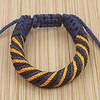 Men's wristband bracelet, 'Krobo Strength' - Hand Crafted Men's African Adjustable Cord Bracelet