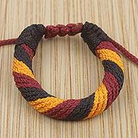 Men's wristband bracelet, 'Krobo Resolve' - Ghana Artisan Crafted Men's Cord Wristband Bracelet