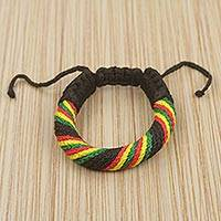 Men's wristband bracelet, 'Krobo Sunshine' - Hand Made Men's Cord Bracelet in Black and Multicolor