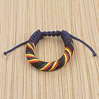 Men's wristband bracelet, 'Krobo Karma' - Artisan Crafted Colorful Men's Cord Bracelet from Ghana
